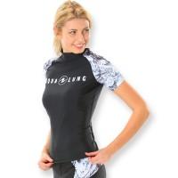 Aqualung Rash Guard Aqua Damen schwarz weiß - kurzarm UPF 50+